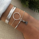 925 Silver chain bracelet with small silver ring