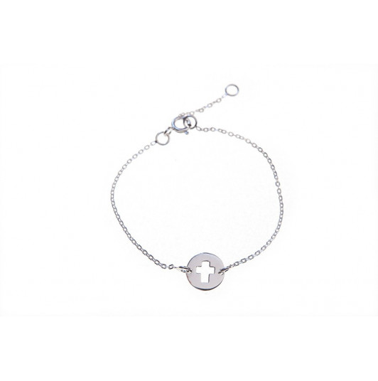 Chain bracelet with perforated cross medal
