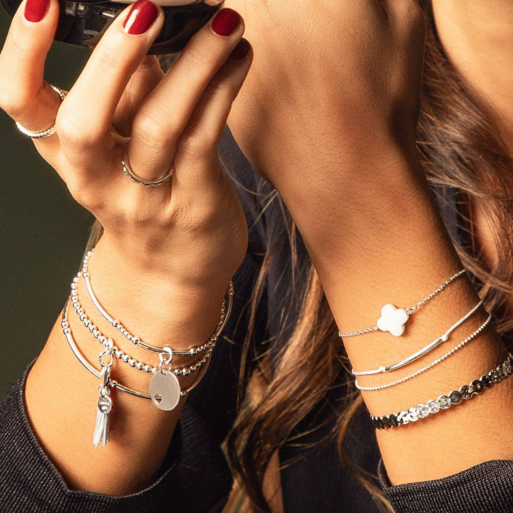 925 Silver chain bracelet with agate clover