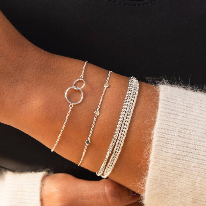 925 Silver chain bracelet with two thin rings