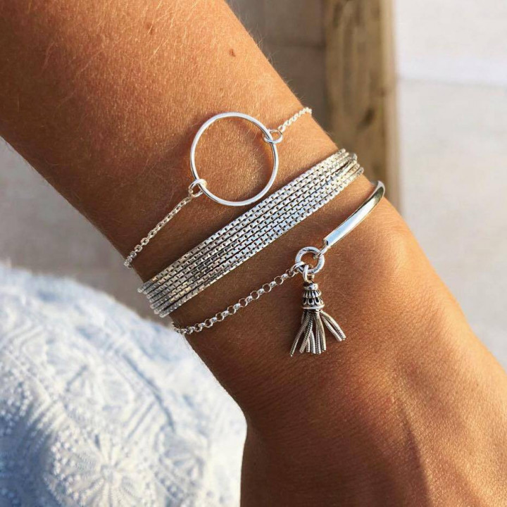 925 Silver chain bracelet with small ring