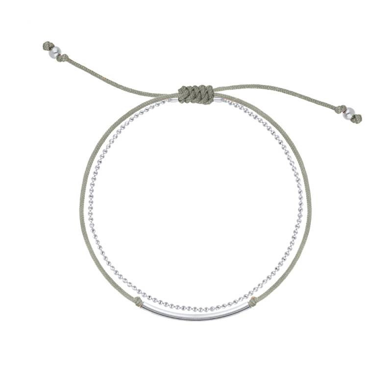 925 Silver double layer tie and chain bracelet taupe