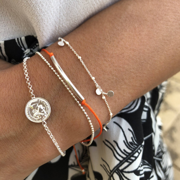 925 Silver double layer tie and chain bracelet orange