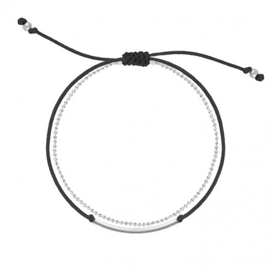 Double layer black tie and chain bracelet