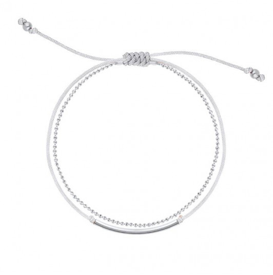 Double layer tie and chain bracelet