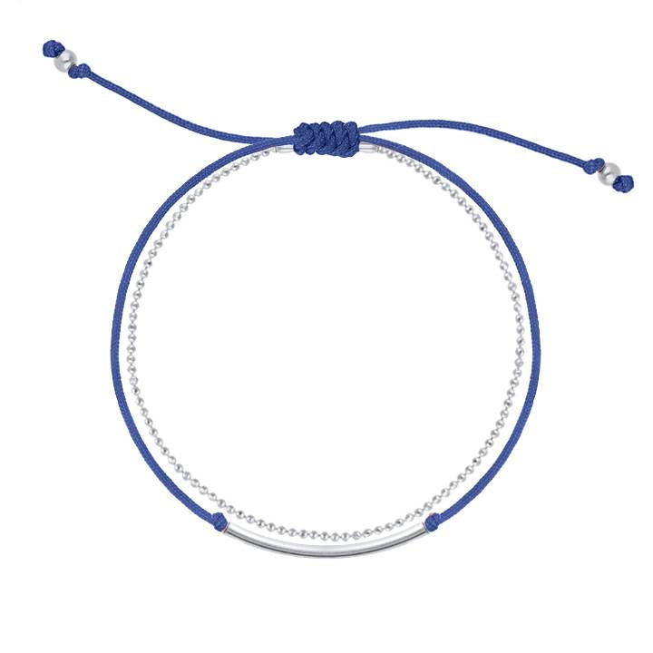 Double layer tie and 925 silver chain bracelet