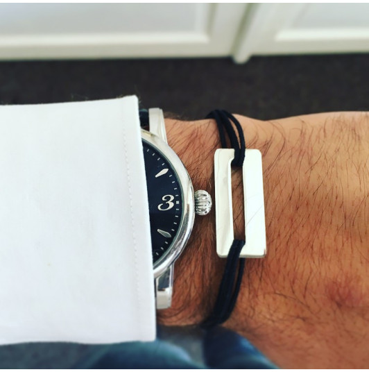 Tie bracelet with perforated rectangle for men