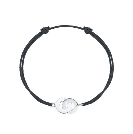 Tie bracelet with small silver handcuffs for men