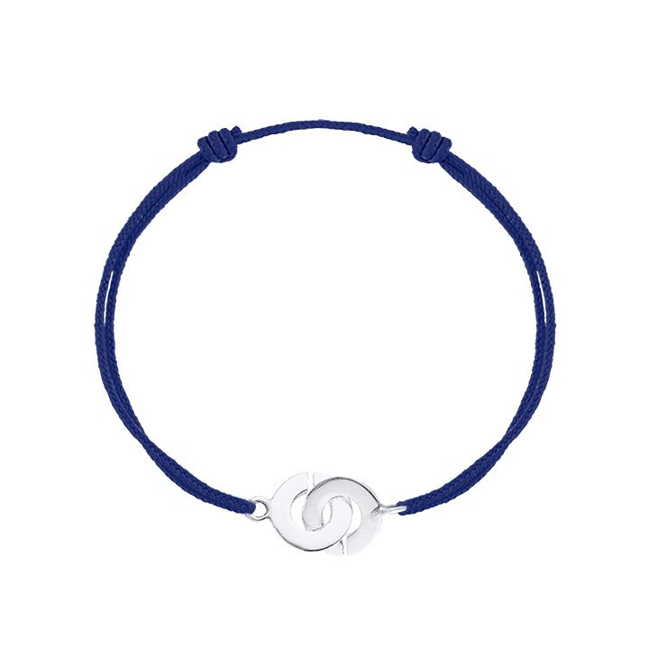 Tie bracelet with silver small handcuffs