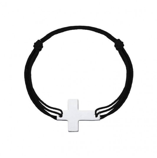 Tie bracelet with large Latin cross for men