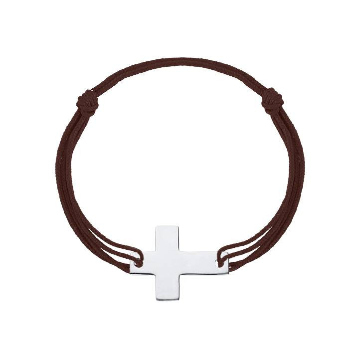 925 silver tie bracelet with large Latin cross for men