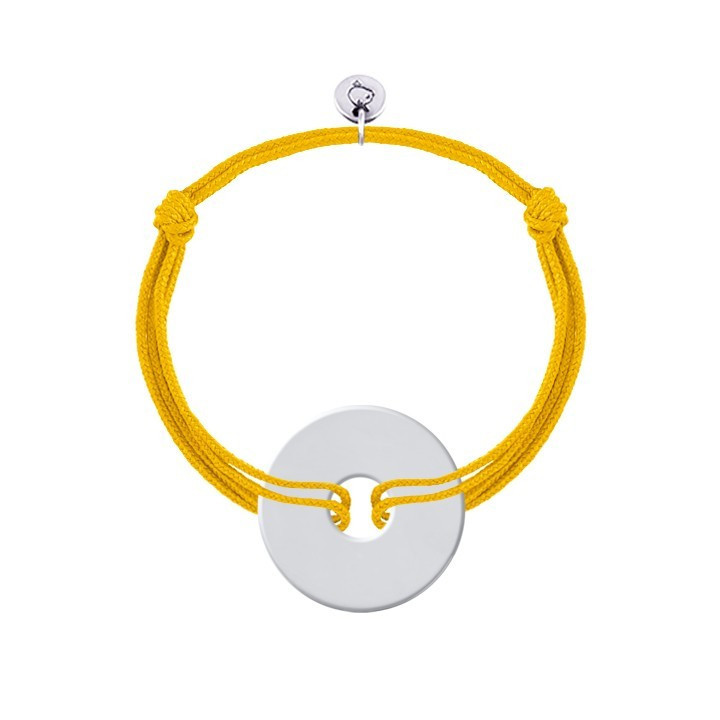 Tie bracelet with customizable silver target medal