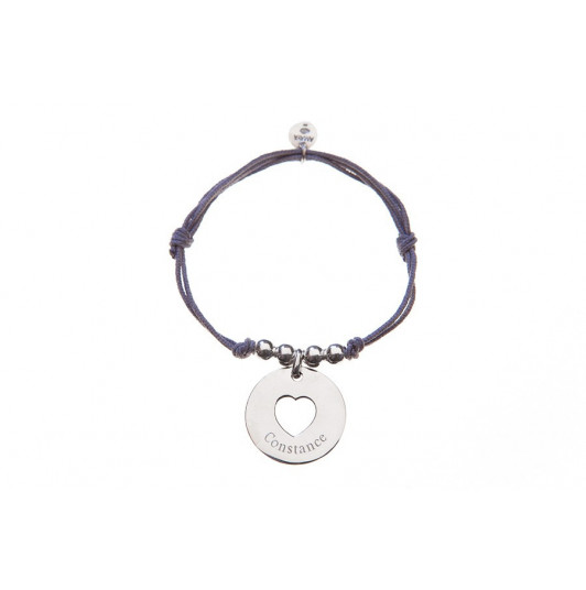 Tie bracelet with open heart medal