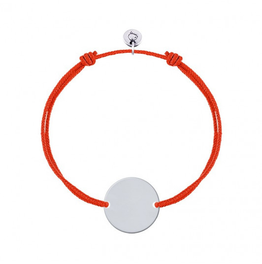 Tie bracelet with 925 silver customizable medal