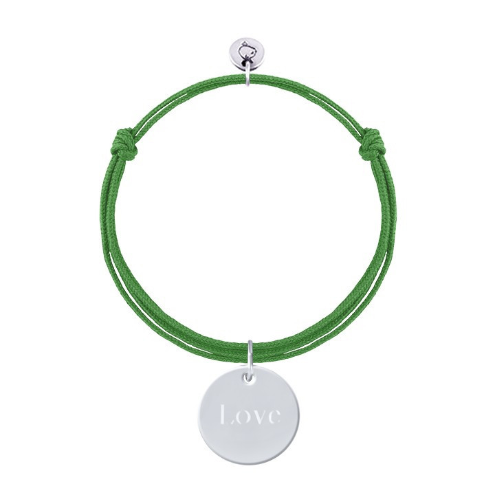 925 Silver double tie bracelet with customizable medal