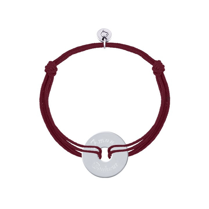 Tie bracelet with silver small target