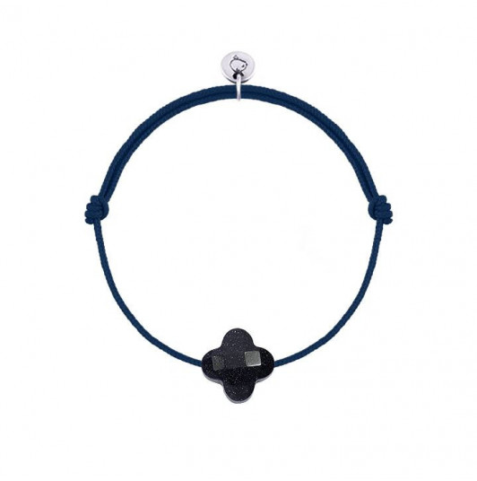 Tie bracelet with glittering navy blue agate clover