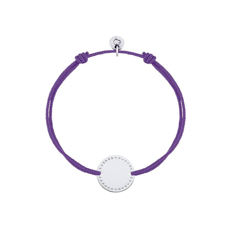 Tie bracelet with dotted line medal
