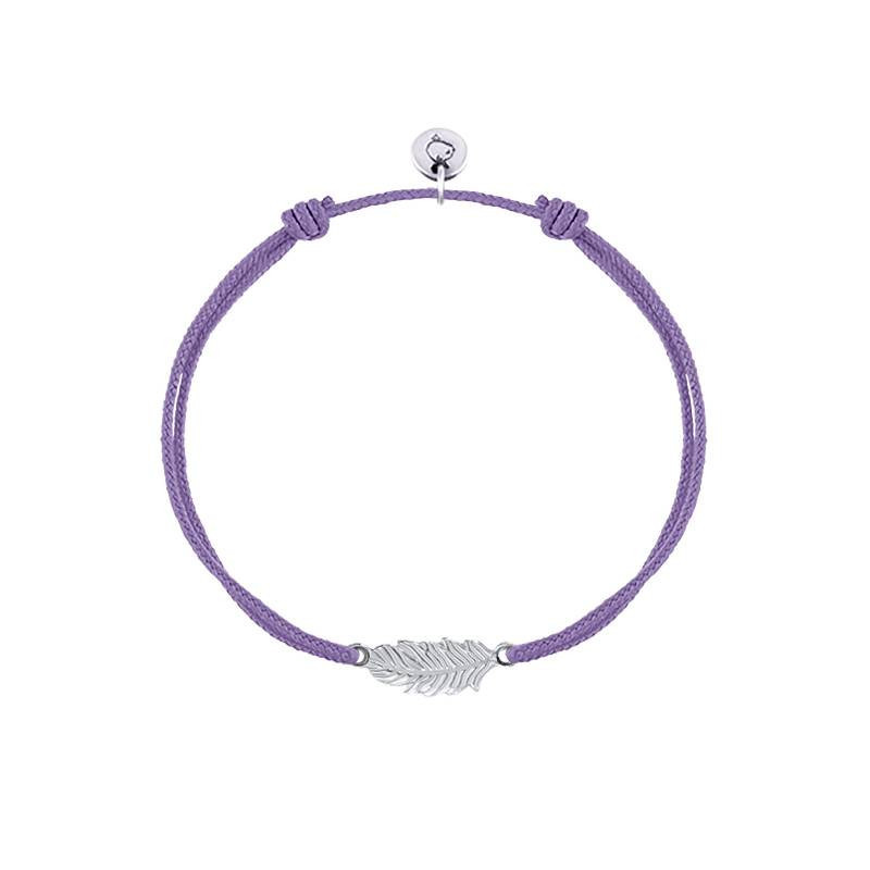925 Silver tie bracelet with little feather