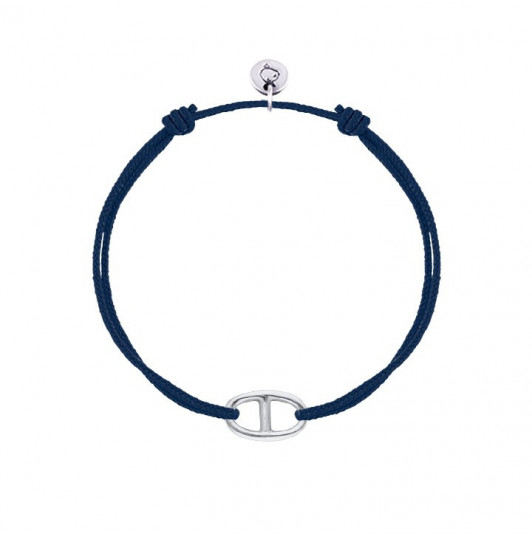 Tie bracelet with small marine link
