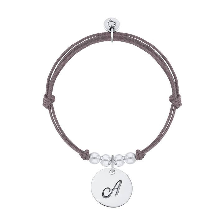 Tie bracelet with initial letter charm and beads
