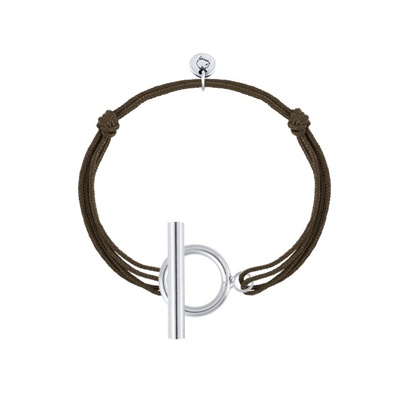 925 Silver tie bracelet with T toggle