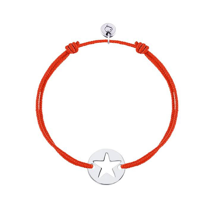 Tie bracelet with perforated star