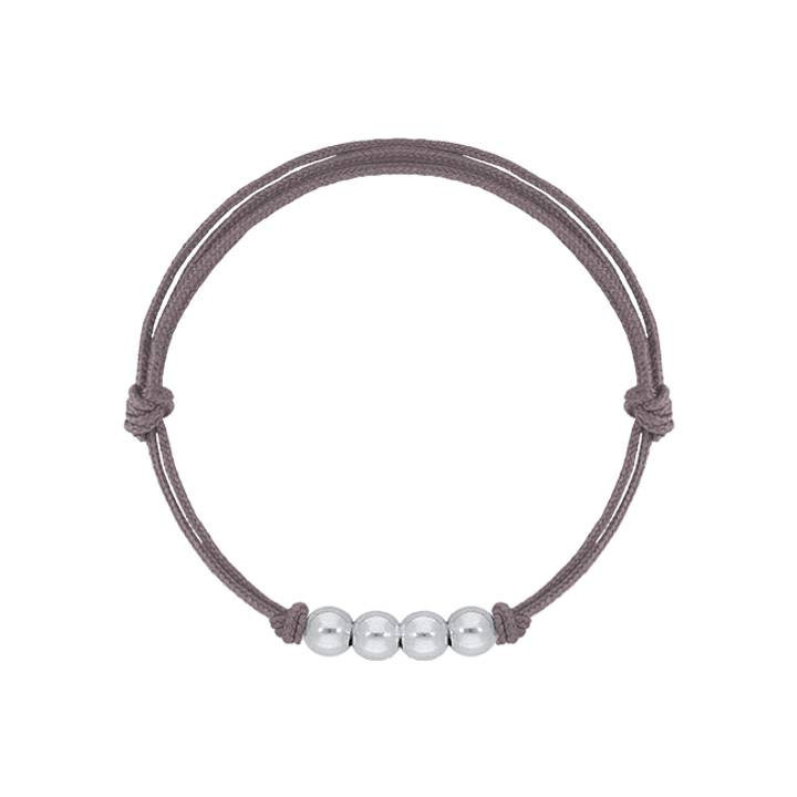925 Silver tie bracelet with 4 beads for men
