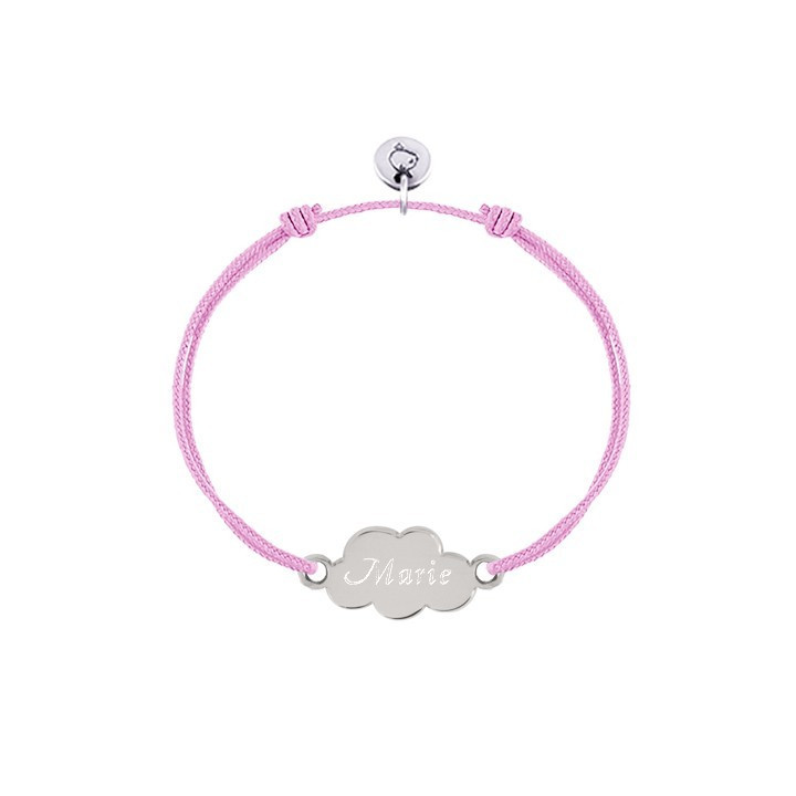 925 Silver tie bracelet with small cloud for children