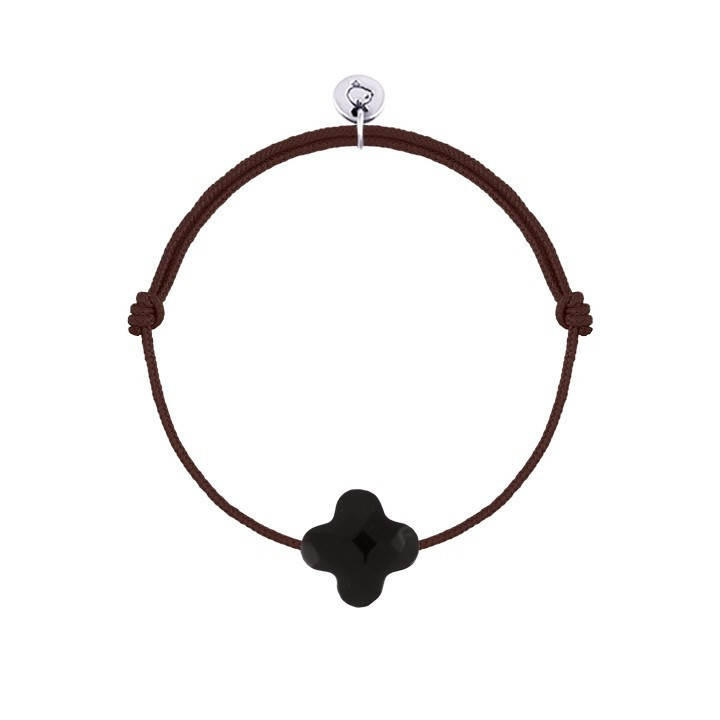 Tie bracelet with agate clover for children