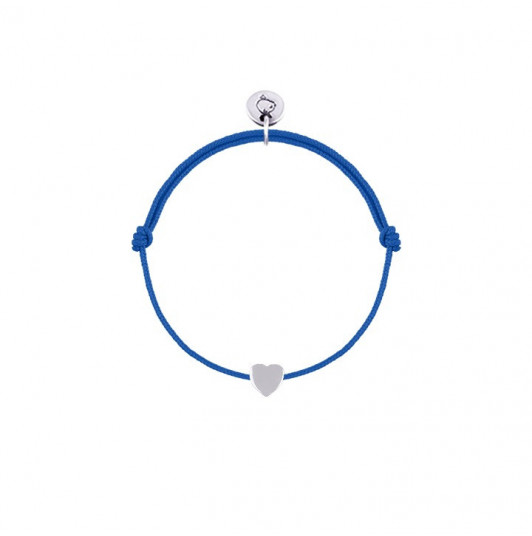 Tie bracelet with silver mini heart for children