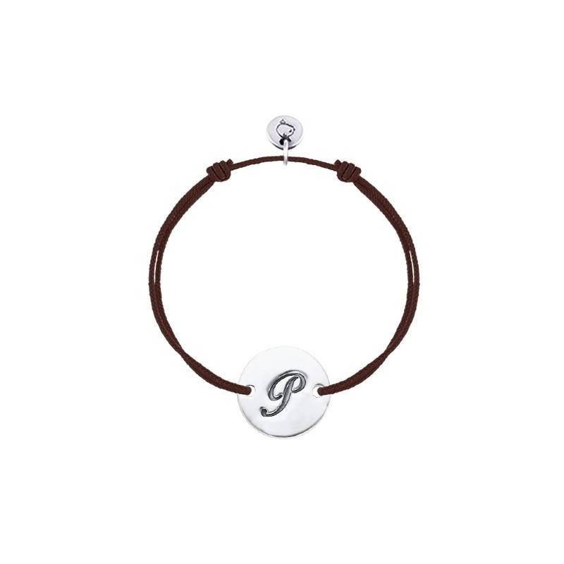 Tie bracelet with initial medal for children