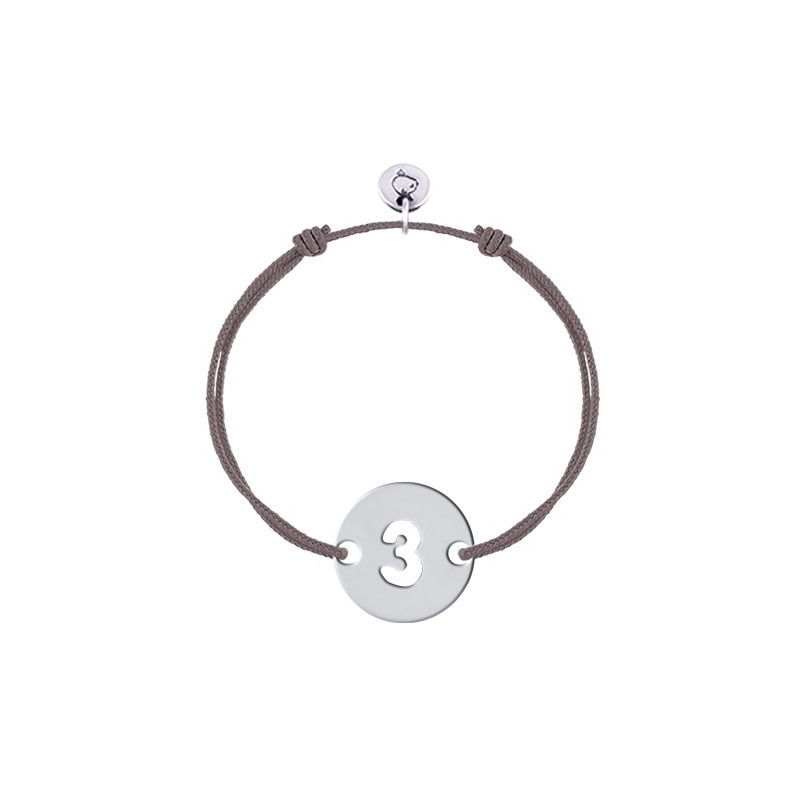 Tie bracelet with perforated initial number for children