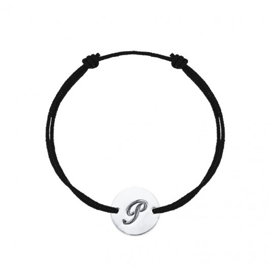 Tie bracelet with initial letter medal for men