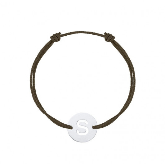 Tie bracelet with perforated initial letter for men