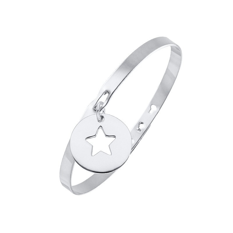 Lock bangle with perforated star medal