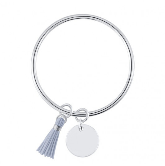 Bangle bracelet with large medal & pompom