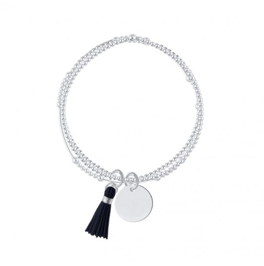 Triple beaded bracelet with medal and pompom
