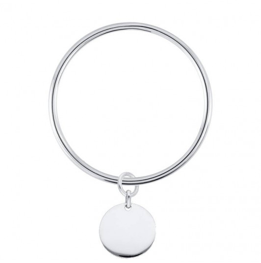 Bangle bracelet with medal for children