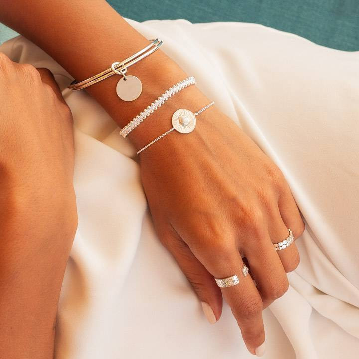 925 silver double thin bangle bracelet with medal