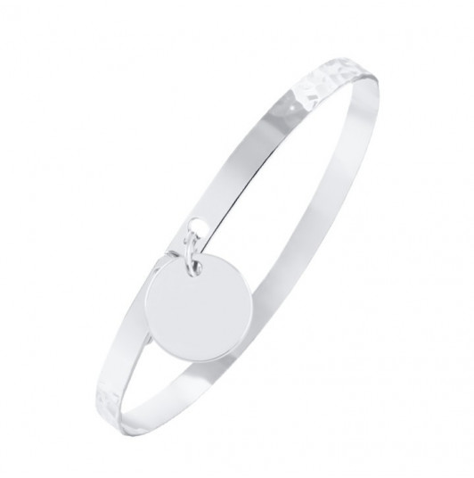 Silver lock bangle with medal
