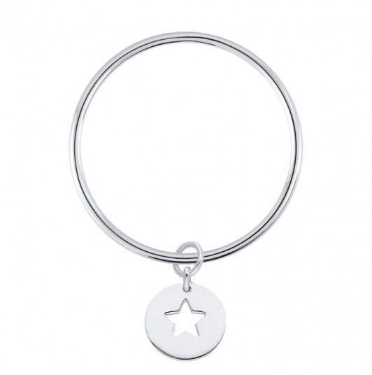 Silver bangle bracelet with hollow star medal