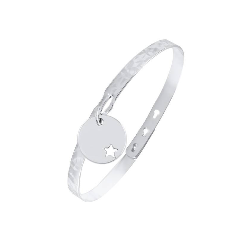 925 Silver lock bangle with perforated star medal