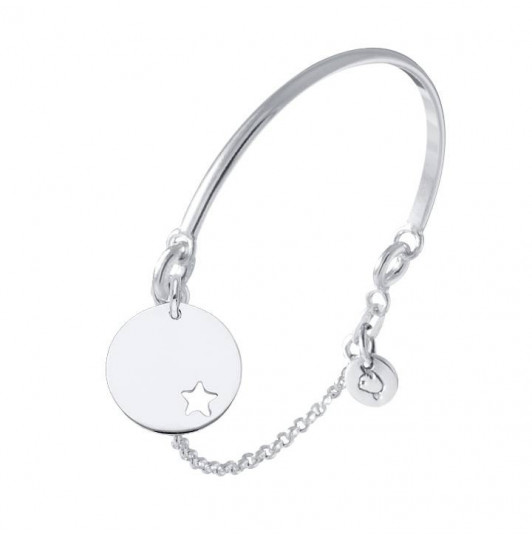 Half bangle and chain bracelet with small perforated star medal