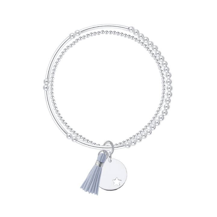 925 silver double beaded bracelet with small perforated star medal and pompom