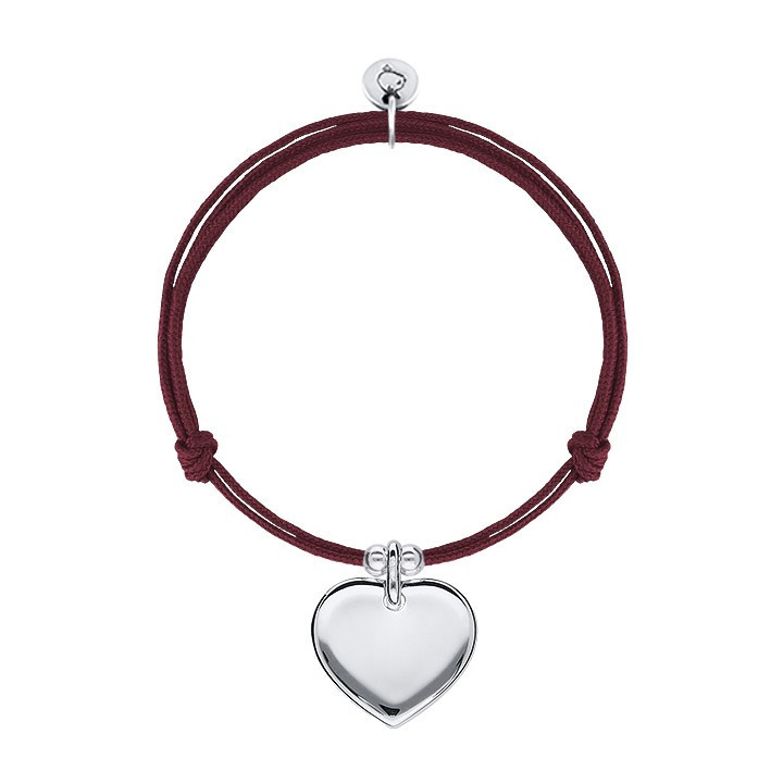 Tie bracelet with curved medal heart and beads