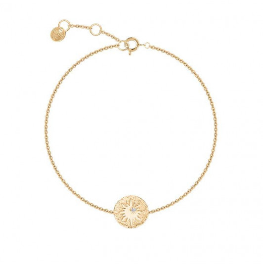 Gold-plated sun star medal chain bracelet