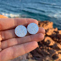 925 Silver textured circle studs