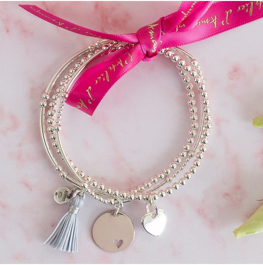 Triple beads bracelets and hearts medals
