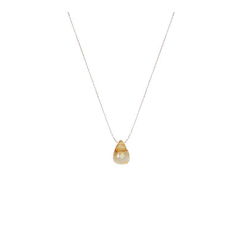 Citrine stone drop necklace